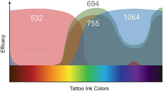 刺青,雷射,吸收,紫翠玉,亞歷山大,紅寶石,ruby,532,694,755